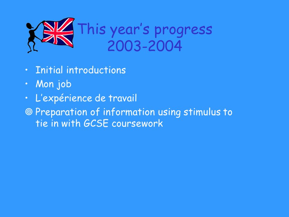 This years progress Initial introductions Mon job Lexpérience de travail Preparation of information using stimulus to tie in with GCSE coursework