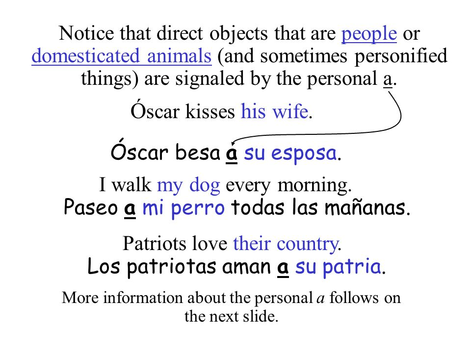 Notice that direct objects that are people or domesticated animals (and sometimes personified things) are signaled by the personal a.