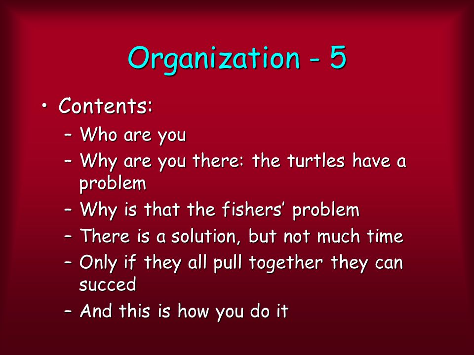 Organization - 5 Contents:Contents: –Who are you –Why are you there: the turtles have a problem –Why is that the fishers problem –There is a solution, but not much time –Only if they all pull together they can succed –And this is how you do it