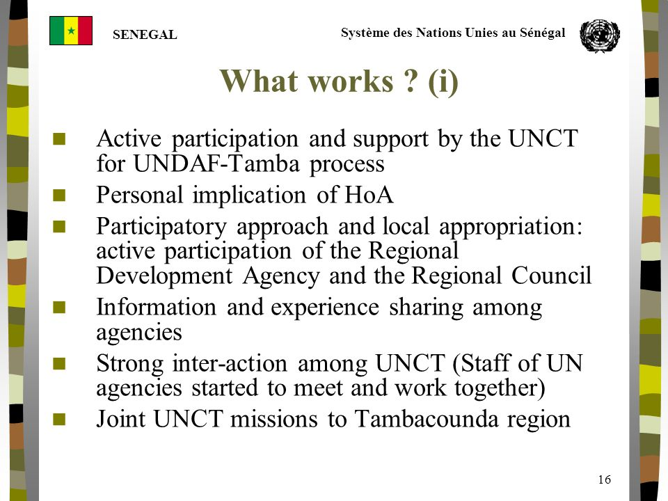 Système des Nations Unies au Sénégal SENEGAL 16 What works .