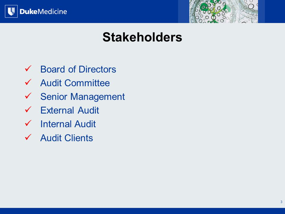 All Rights Reserved, Duke Medicine 2007 Stakeholders Board of Directors Audit Committee Senior Management External Audit Internal Audit Audit Clients 3