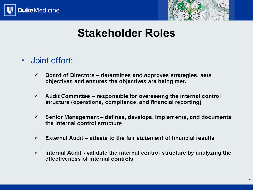 All Rights Reserved, Duke Medicine 2007 Stakeholder Roles Joint effort: Board of Directors – determines and approves strategies, sets objectives and ensures the objectives are being met.