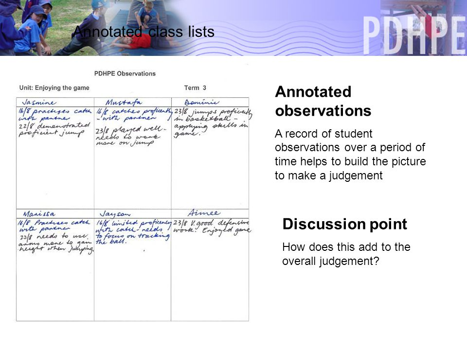 Annotated class lists Annotated observations A record of student observations over a period of time helps to build the picture to make a judgement Discussion point How does this add to the overall judgement