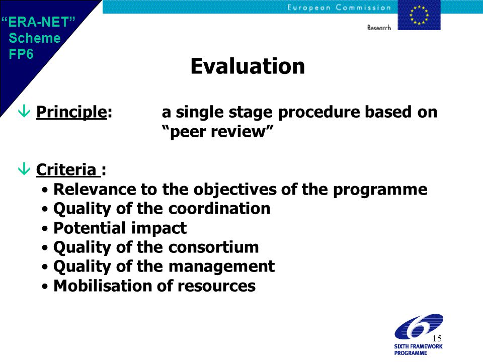 15 Evaluation  Principle:a single stage procedure based on peer review  Criteria : Relevance to the objectives of the programme Quality of the coordination Potential impact Quality of the consortium Quality of the management Mobilisation of resources ERA-NET Scheme FP6 ERA-NET Scheme FP6