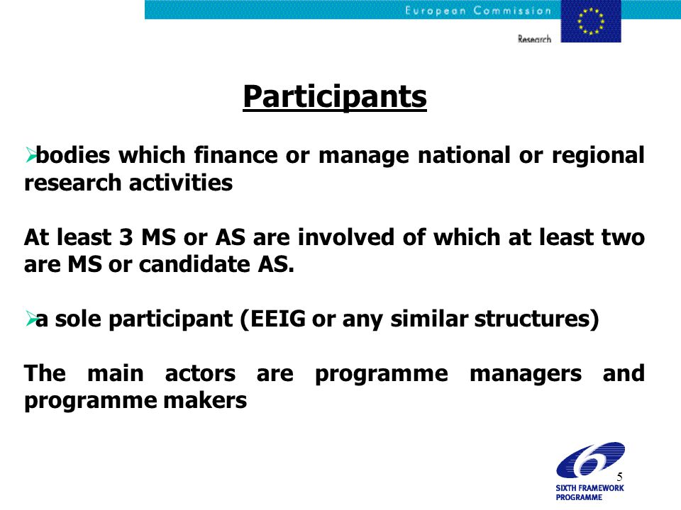 5 Participants  bodies which finance or manage national or regional research activities At least 3 MS or AS are involved of which at least two are MS or candidate AS.