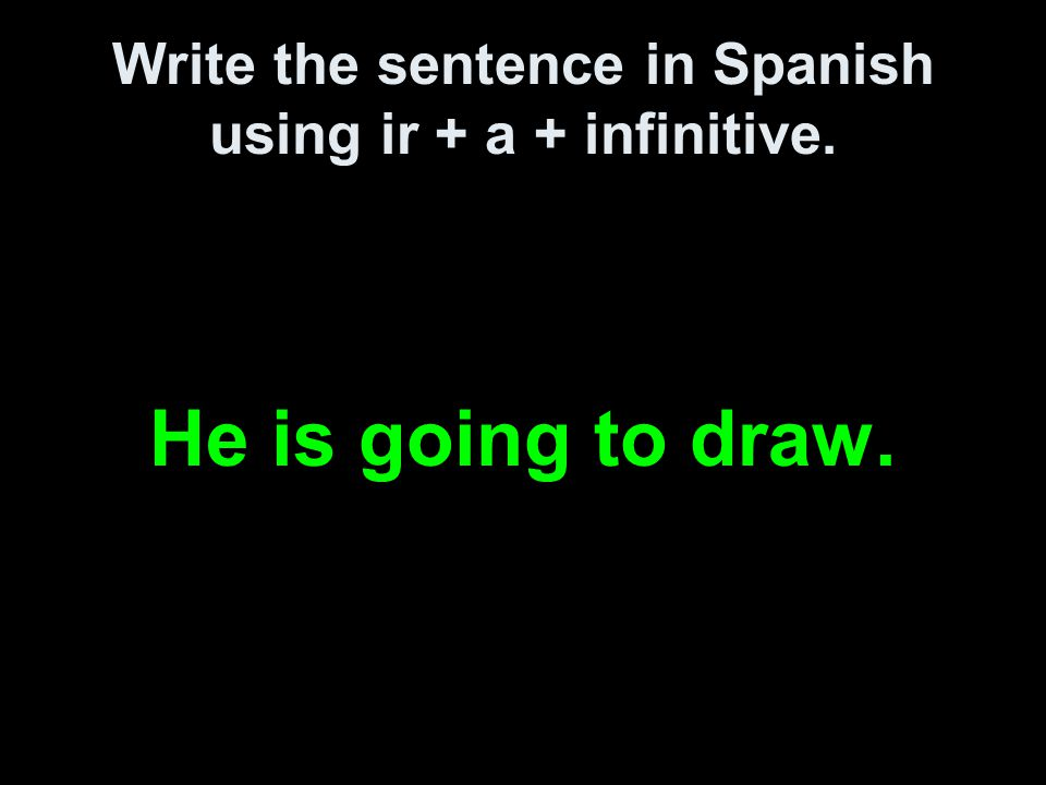 Write the sentence in Spanish using ir + a + infinitive. He is going to draw.