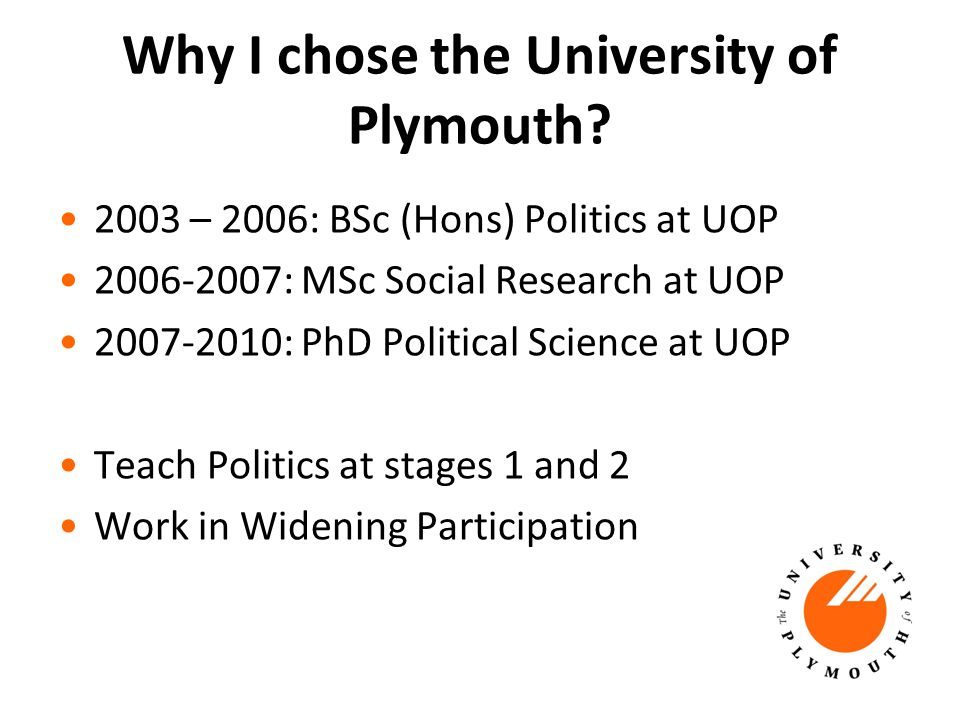 Why I chose the University of Plymouth.
