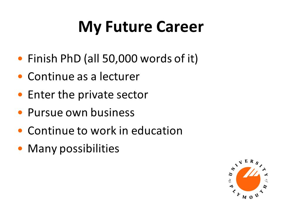 My Future Career Finish PhD (all 50,000 words of it) Continue as a lecturer Enter the private sector Pursue own business Continue to work in education Many possibilities