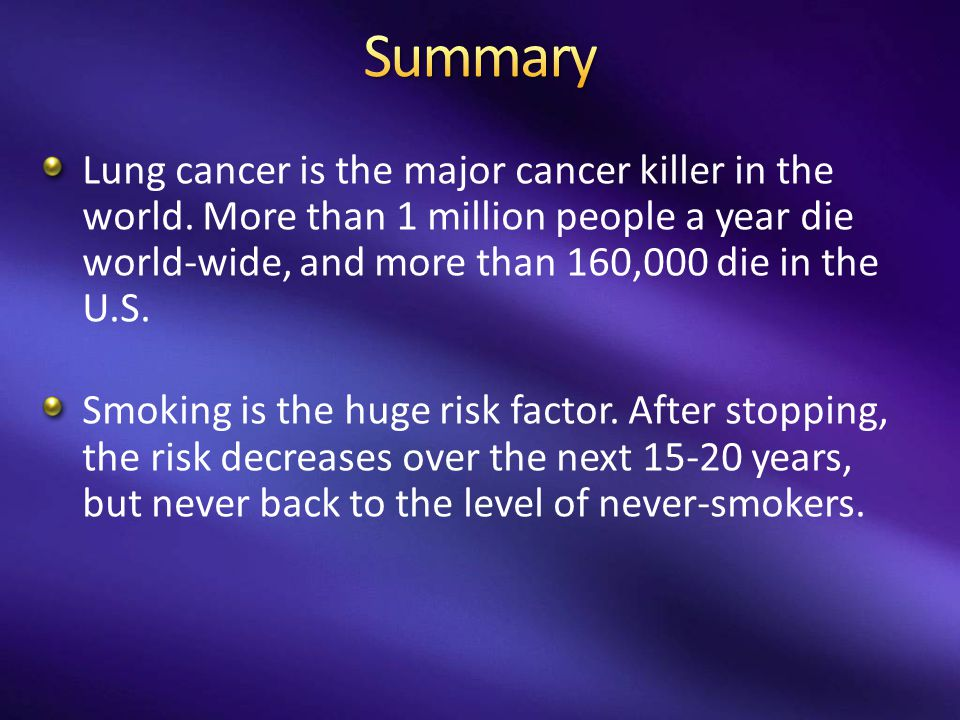 Lung cancer is the major cancer killer in the world.