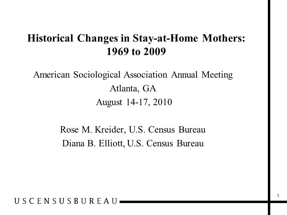 Historical Changes in Stay-at-Home Mothers: 1969 to 2009 American Sociological Association Annual Meeting Atlanta, GA August 14-17, 2010 Rose M.