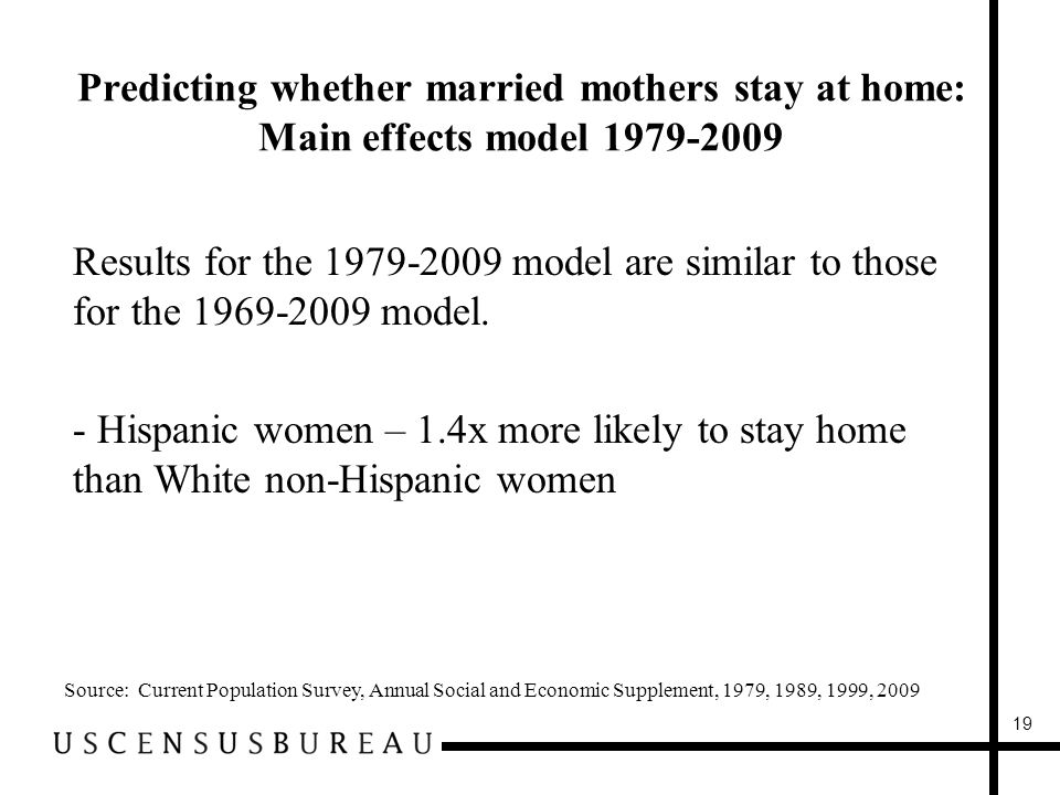 Predicting whether married mothers stay at home: Main effects model Results for the model are similar to those for the model.