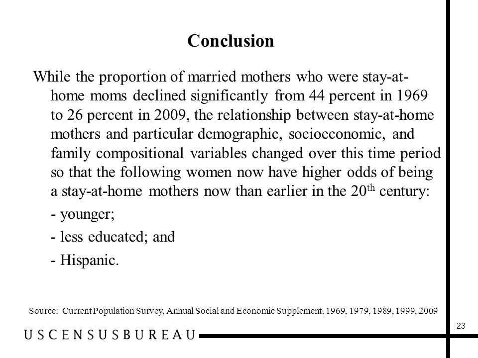 Conclusion Source: Current Population Survey, Annual Social and Economic Supplement, 1969, 1979, 1989, 1999, 2009 While the proportion of married mothers who were stay-at- home moms declined significantly from 44 percent in 1969 to 26 percent in 2009, the relationship between stay-at-home mothers and particular demographic, socioeconomic, and family compositional variables changed over this time period so that the following women now have higher odds of being a stay-at-home mothers now than earlier in the 20 th century: -- younger; -- less educated; and -- Hispanic.