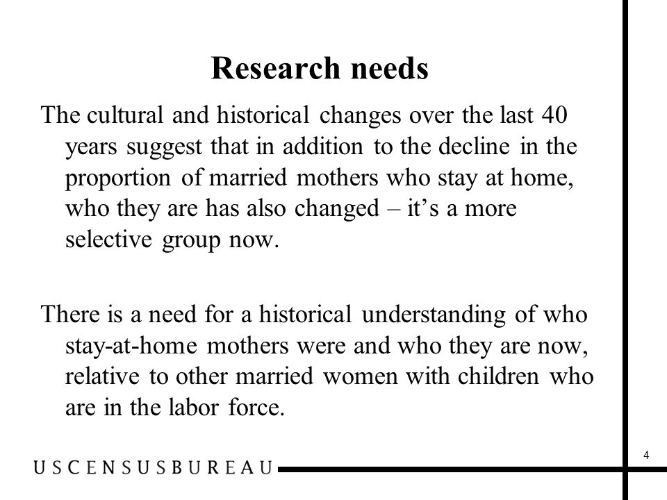 Research needs The cultural and historical changes over the last 40 years suggest that in addition to the decline in the proportion of married mothers who stay at home, who they are has also changed – it's a more selective group now.