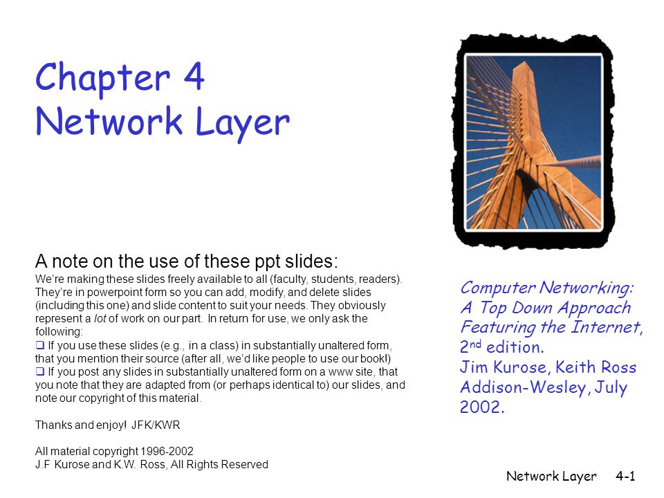 Network Layer4-1 Chapter 4 Network Layer Computer Networking: A Top Down Approach Featuring the Internet, 2 nd edition.