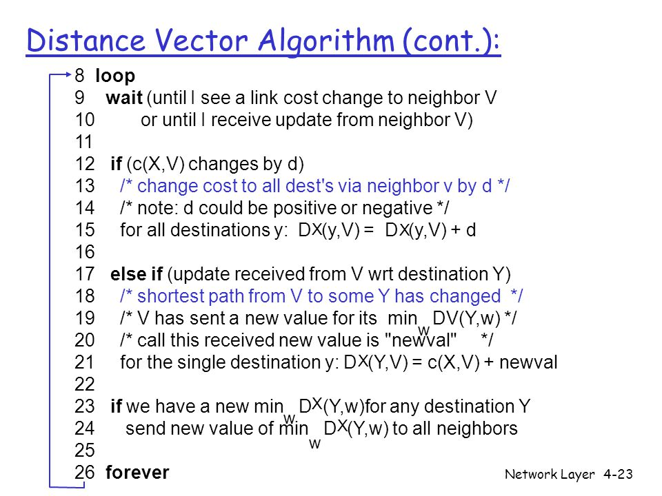 Network Layer4-23 Distance Vector Algorithm (cont.): 8 loop 9 wait (until I see a link cost change to neighbor V 10 or until I receive update from neighbor V) if (c(X,V) changes by d) 13 /* change cost to all dest s via neighbor v by d */ 14 /* note: d could be positive or negative */ 15 for all destinations y: D (y,V) = D (y,V) + d else if (update received from V wrt destination Y) 18 /* shortest path from V to some Y has changed */ 19 /* V has sent a new value for its min DV(Y,w) */ 20 /* call this received new value is newval */ 21 for the single destination y: D (Y,V) = c(X,V) + newval if we have a new min D (Y,w)for any destination Y 24 send new value of min D (Y,w) to all neighbors forever w X X X X X w w