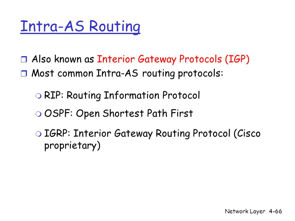 Network Layer4-66 Intra-AS Routing r Also known as Interior Gateway Protocols (IGP) r Most common Intra-AS routing protocols: m RIP: Routing Information Protocol m OSPF: Open Shortest Path First m IGRP: Interior Gateway Routing Protocol (Cisco proprietary)