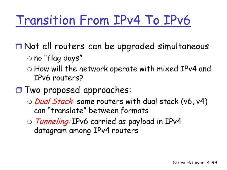 Network Layer4-99 Transition From IPv4 To IPv6 r Not all routers can be upgraded simultaneous m no flag days m How will the network operate with mixed IPv4 and IPv6 routers.