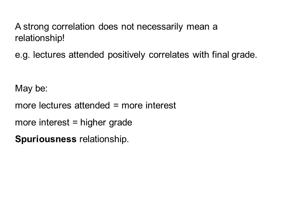 A strong correlation does not necessarily mean a relationship.