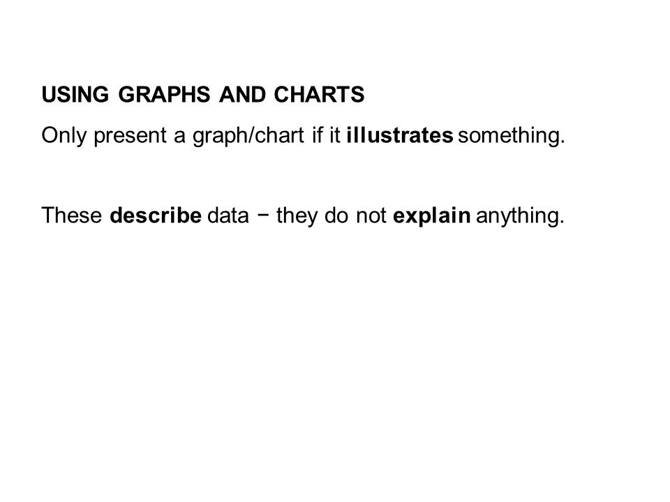 USING GRAPHS AND CHARTS Only present a graph/chart if it illustrates something.