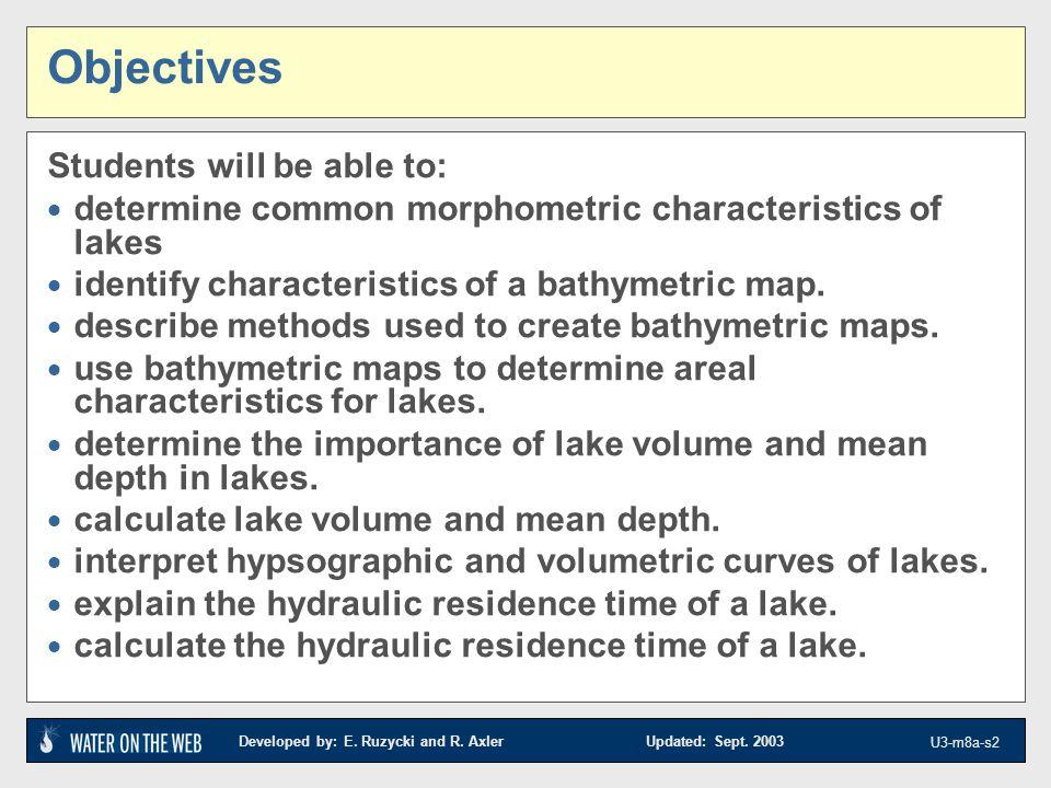 Introduction to Lake Surveys Field Techniques Unit 3 Module