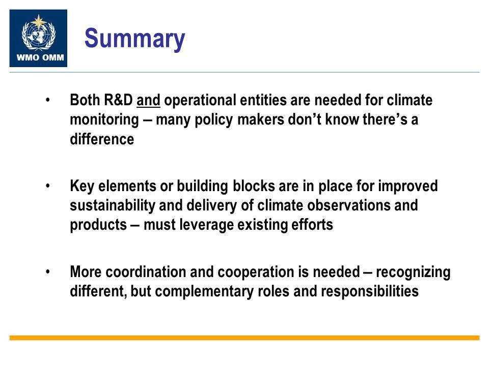 WMO OMM Summary Both R&D and operational entities are needed for climate monitoring – many policy makers don ' t know there ' s a difference Key elements or building blocks are in place for improved sustainability and delivery of climate observations and products – must leverage existing efforts More coordination and cooperation is needed – recognizing different, but complementary roles and responsibilities
