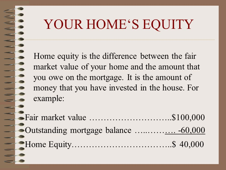 YOUR HOME'S EQUITY Home equity is the difference between the fair market value of your home and the amount that you owe on the mortgage.