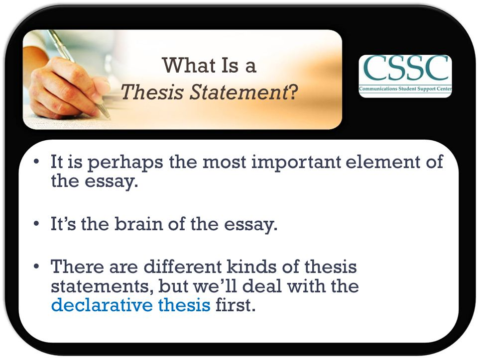 What Is a Thesis Statement. It is perhaps the most important element of the essay.