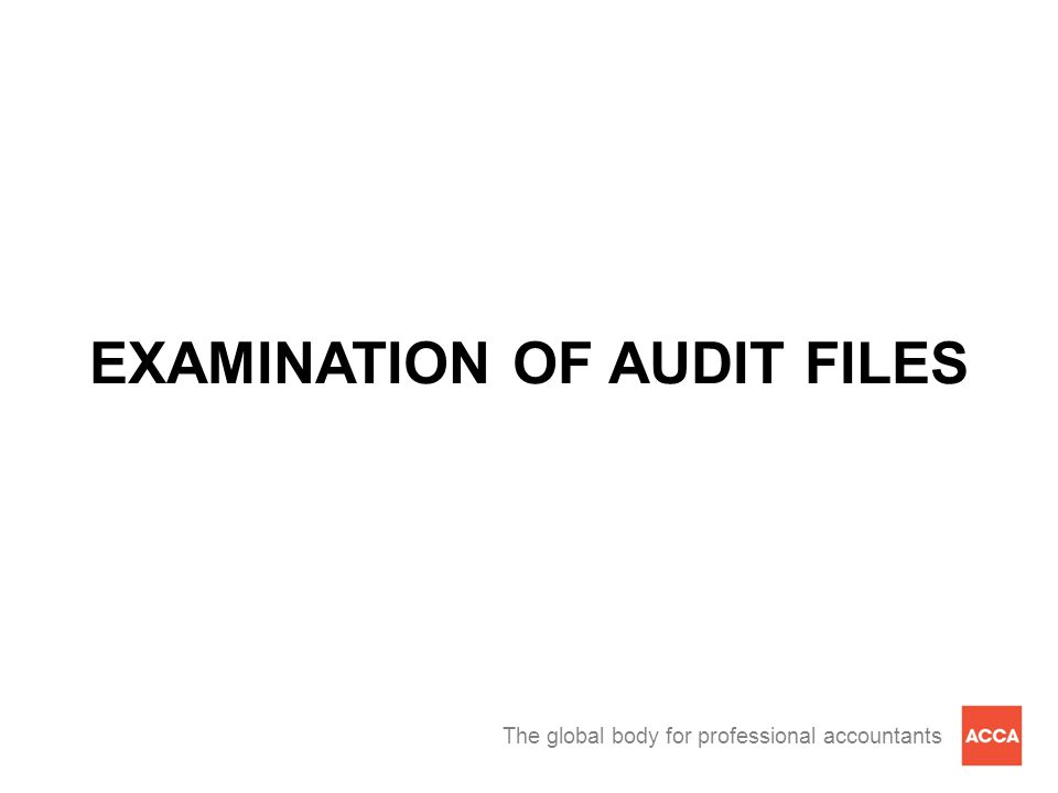 The global body for professional accountants EXAMINATION OF AUDIT FILES