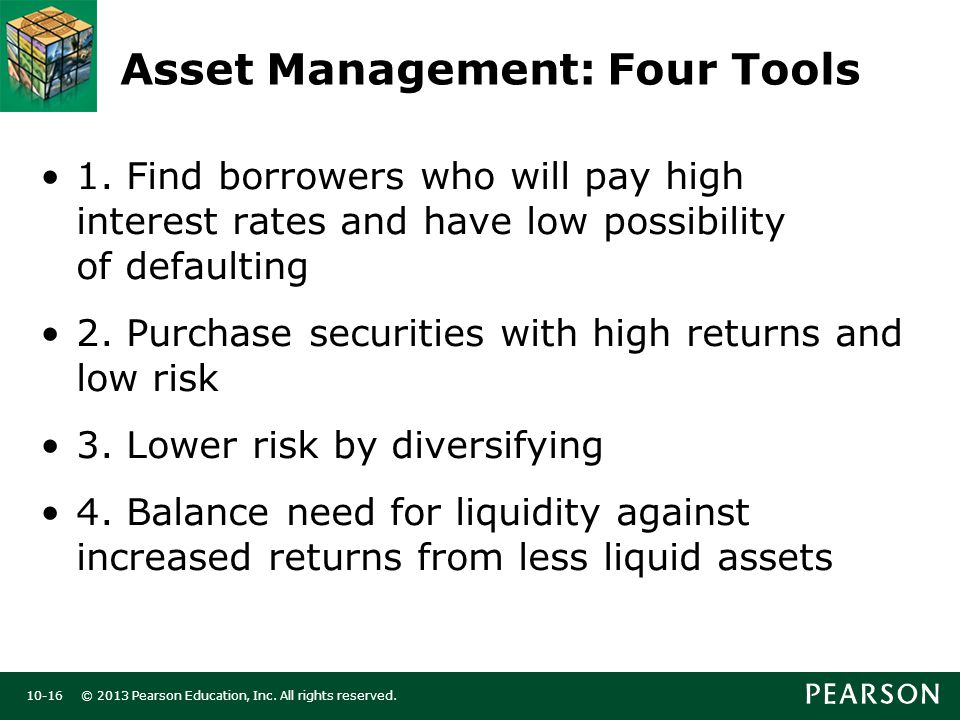 © 2013 Pearson Education, Inc. All rights reserved Asset Management: Four Tools 1.