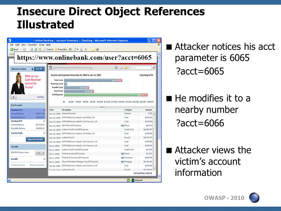 OWASP Insecure Direct Object References Illustrated  Attacker notices his acct parameter is 6065 acct=6065  He modifies it to a nearby number acct=6066  Attacker views the victim's account information   acct=6065