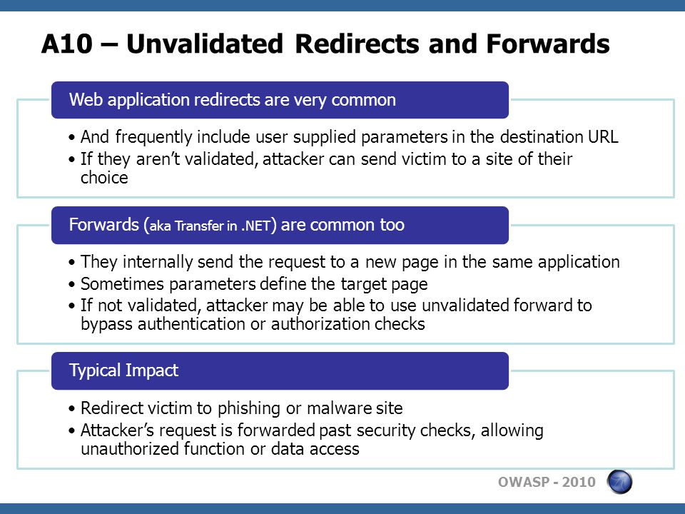 OWASP A10 – Unvalidated Redirects and Forwards And frequently include user supplied parameters in the destination URL If they aren't validated, attacker can send victim to a site of their choice Web application redirects are very common They internally send the request to a new page in the same application Sometimes parameters define the target page If not validated, attacker may be able to use unvalidated forward to bypass authentication or authorization checks Forwards ( aka Transfer in.NET ) are common too Redirect victim to phishing or malware site Attacker's request is forwarded past security checks, allowing unauthorized function or data access Typical Impact