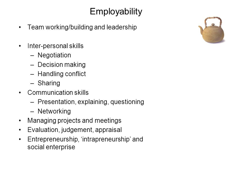 Employability Team working/building and leadership Inter-personal skills –Negotiation –Decision making –Handling conflict –Sharing Communication skills –Presentation, explaining, questioning –Networking Managing projects and meetings Evaluation, judgement, appraisal Entrepreneurship, 'intrapreneurship' and social enterprise