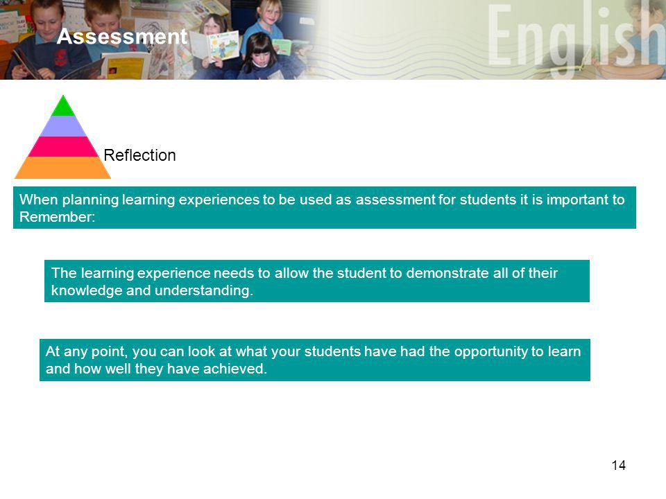 14 Assessment When planning learning experiences to be used as assessment for students it is important to Remember: Reflection At any point, you can look at what your students have had the opportunity to learn and how well they have achieved.