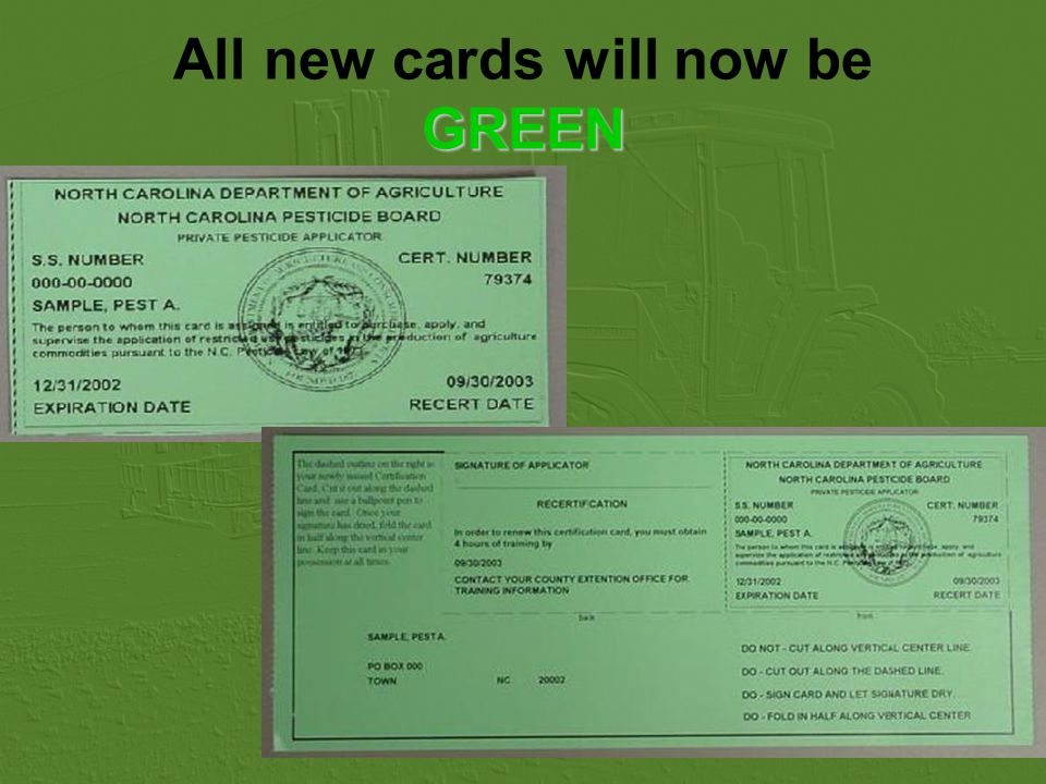 All new cards will now beGREEN