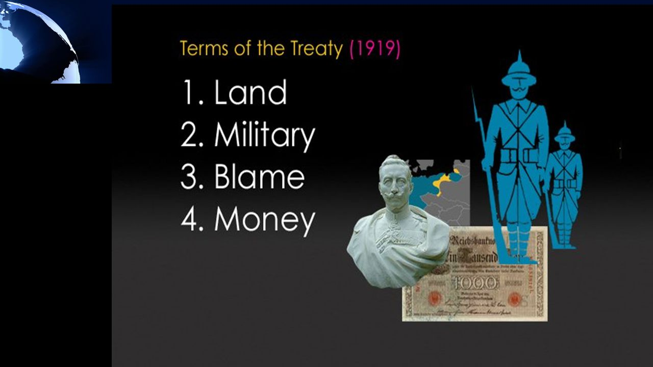 End Secret treaties & alliances Freedom of the Seas End all trade conflicts to encourage free trade Reduce weapon stockpiles to make countries safe during times of peace The empires' colonies should be independent League of Nations Germany cannot maintain an army Created 9 new countries Germany must pay $33 billion in war reparations Humiliated Germany by making them sign a war guilt clause