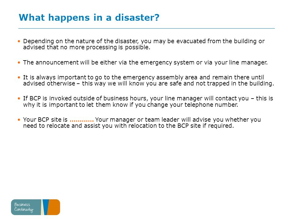 What happens in a disaster.