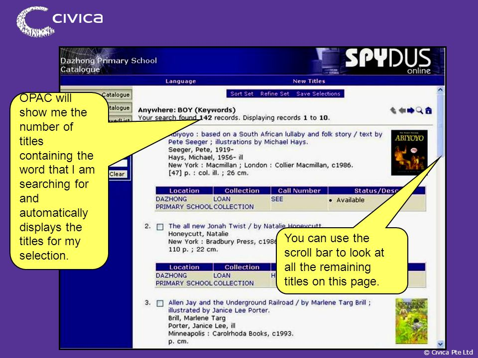 spydus civica pte ltd online public access catalogue opac a self rh slideplayer com
