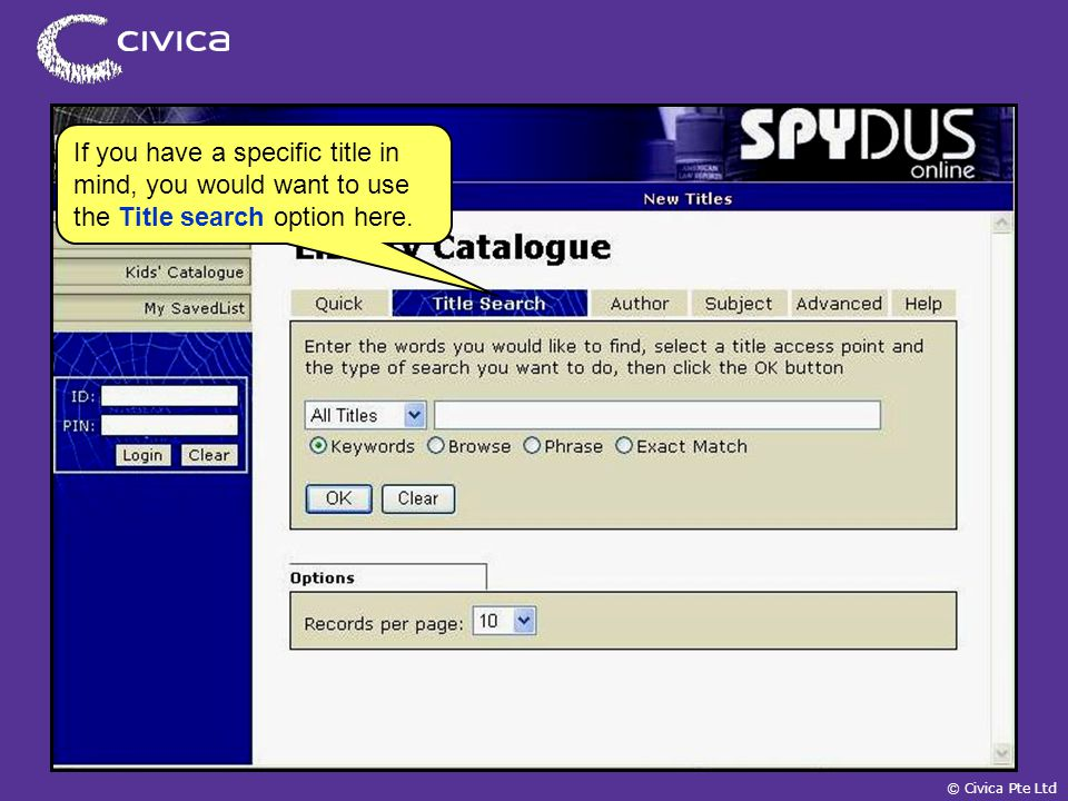 spydus civica pte ltd online public access catalogue opac a self rh slideplayer com spydus 10 user guide spydus 10 user guide