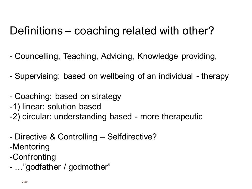 Date Definitions – coaching related with other.