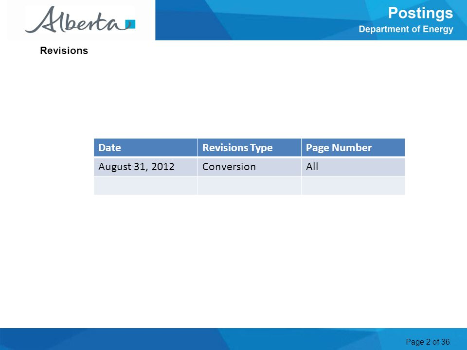 Page 2 of 36 Revisions DateRevisions TypePage Number August 31, 2012ConversionAll