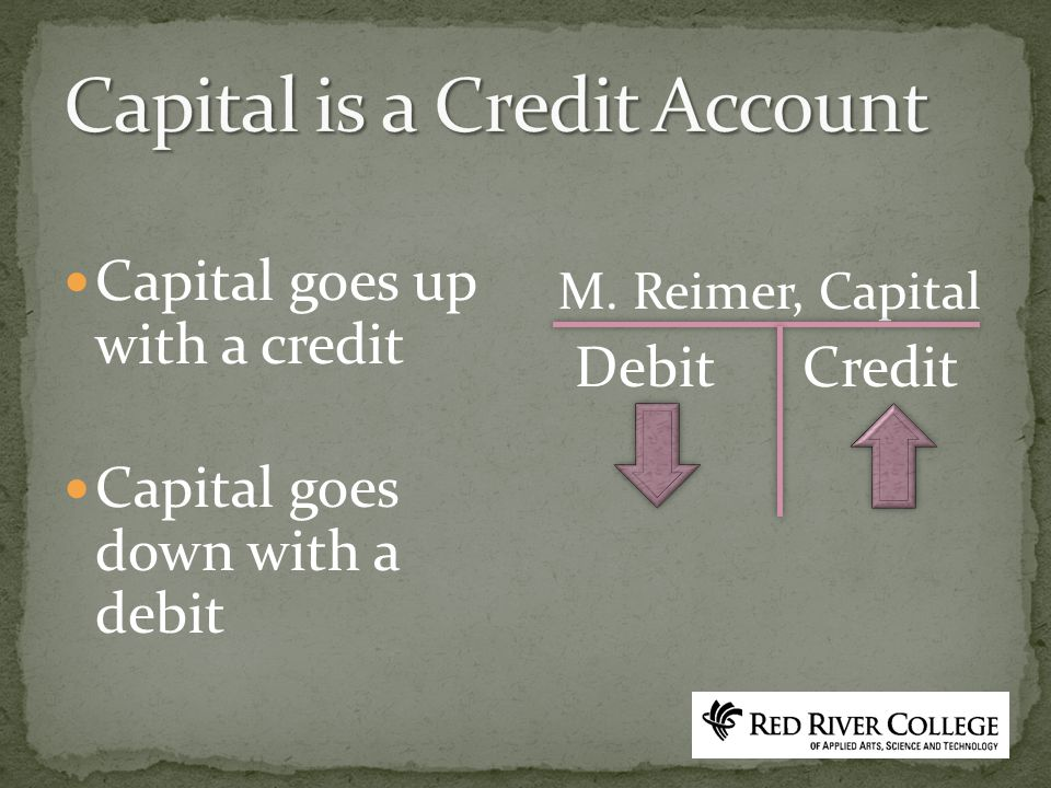 Capital goes up with a credit Capital goes down with a debit M. Reimer, Capital Debit Credit