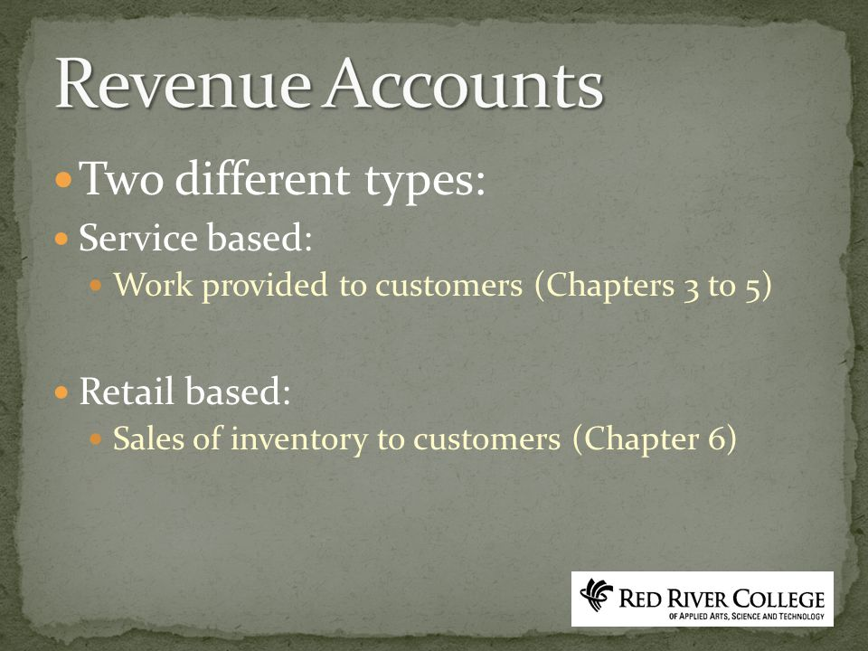 Two different types: Service based: Work provided to customers (Chapters 3 to 5) Retail based: Sales of inventory to customers (Chapter 6)