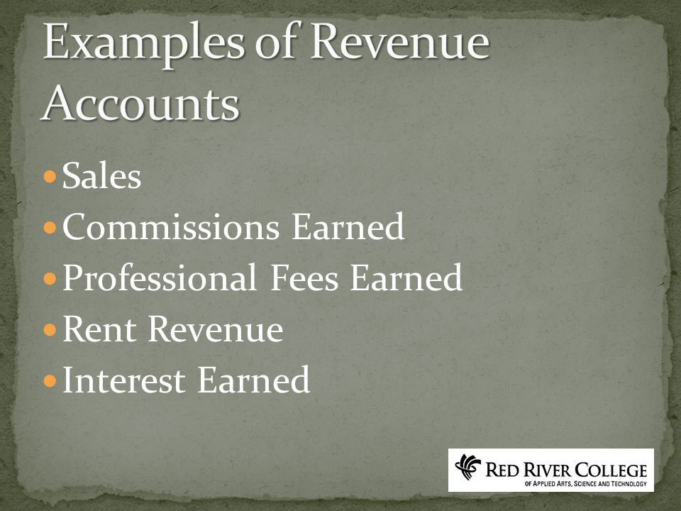 Sales Commissions Earned Professional Fees Earned Rent Revenue Interest Earned