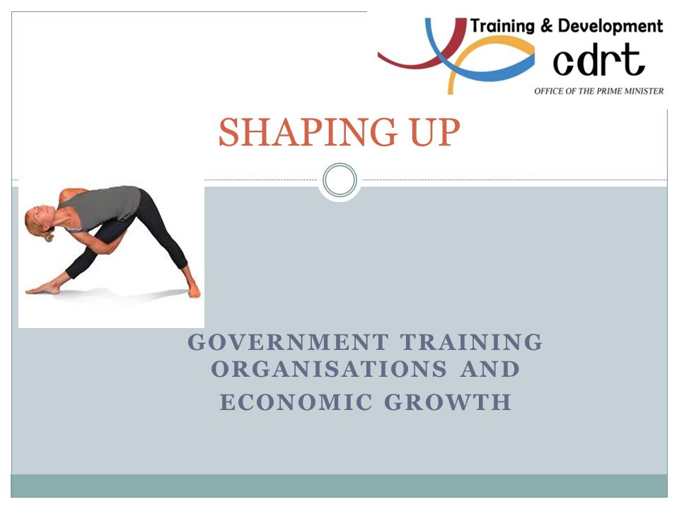 GOVERNMENT TRAINING ORGANISATIONS AND ECONOMIC GROWTH SHAPING UP