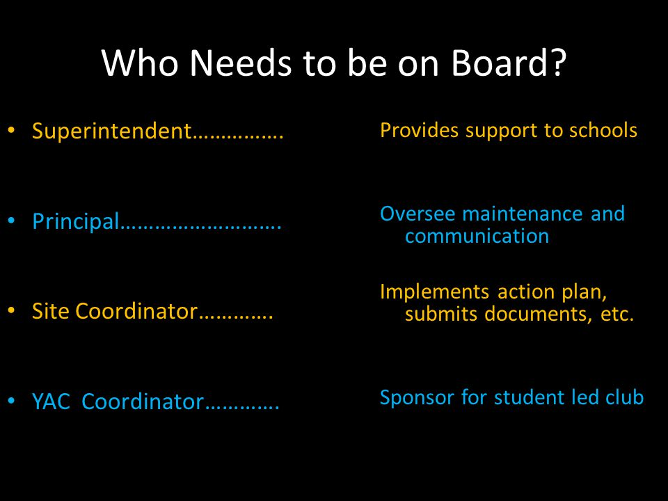 Who Needs to be on Board. Superintendent……………. Principal……………………….