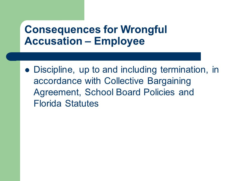 Consequences for Wrongful Accusation – Employee Discipline, up to and including termination, in accordance with Collective Bargaining Agreement, School Board Policies and Florida Statutes