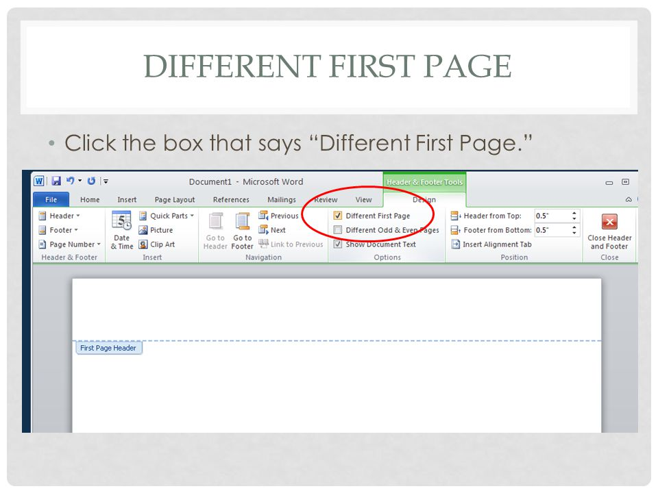 How To Change Different First Page In Word 2010 Delete the