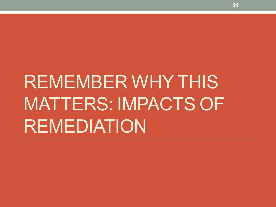 REMEMBER WHY THIS MATTERS: IMPACTS OF REMEDIATION 21