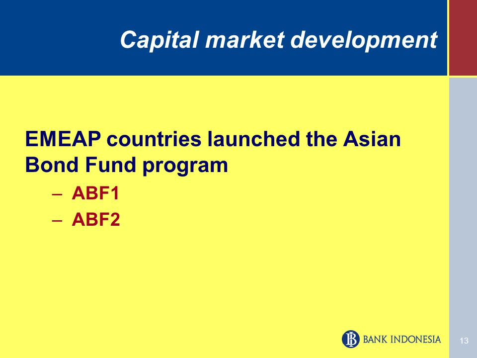 13 Capital market development EMEAP countries launched the Asian Bond Fund program –ABF1 –ABF2