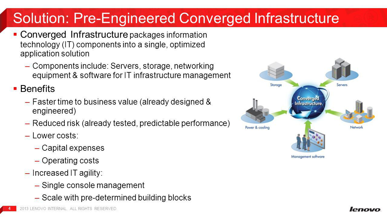 4  Converged Infrastructure packages information technology (IT) components into a single, optimized application solution –Components include: Servers, storage, networking equipment & software for IT infrastructure management  Benefits –Faster time to business value (already designed & engineered) –Reduced risk (already tested, predictable performance) –Lower costs: – Capital expenses – Operating costs –Increased IT agility: – Single console management – Scale with pre-determined building blocks Solution: Pre-Engineered Converged Infrastructure 2013 LENOVO INTERNAL.